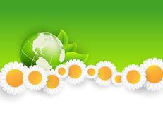 Floral environmental vector frame with globe Stock Photography