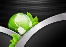 Floral environmental vector frame with globe Stock Photos