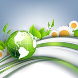 Floral environmental vector frame with globe Royalty Free Stock Photo
