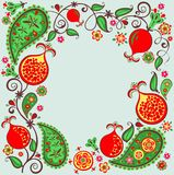 Floral ethnic border with abstract pomegranate tree, fruit, flower and paisly royalty free stock images