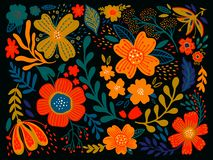 Floral ethno wild folk flowers in black background. Set of country style bouquet. Rustic chic. Use for textile design, wallpaper,. Covers, surface, print, gift royalty free illustration