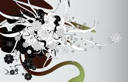 Floral explosion. Illustraion of modern floral design Royalty Free Stock Photo