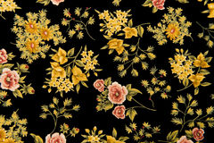 Floral Fabric Black Background Stock Images