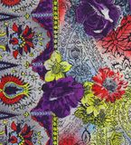Floral fabric. Detail of ethno floral pattern fabric Stock Photos