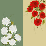 Floral fantasy. Vertical headers with red and white  flowers Royalty Free Stock Photography