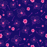 Floral fantasy pattern blue background. Floral fantasy pattern seamless. Abstract hand-drawn flowers on blue background. Vector illustration Stock Photography
