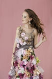 Floral fantasy woman in flower dress Royalty Free Stock Images