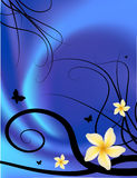 Floral fashion background. Vector foliage backdrop, with butterflyes and yellow plumeria flowers on blue satin Stock Images