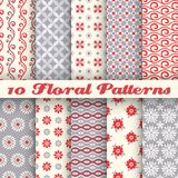 10 Floral fashionable vector seamless patterns (tiling) Stock Photos