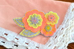 Floral felt brooch, handmade crafts Royalty Free Stock Image
