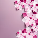 Floral festive background with pink 3d flowers. Sakura. Stylish trendy abstract background. Greeting or invitation card. Vector illustration stock illustration