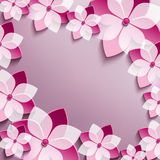 Floral festive frame with pink 3d flowers sakura Royalty Free Stock Image
