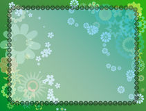 Floral field. Illustration of floral frame with a floral field on green background Royalty Free Stock Images