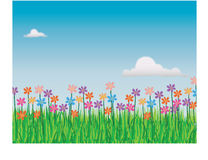 Floral field. Abstract illustration of the field in springtime with lots of flowers vector illustration