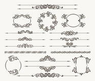 Floral filigree design element set. Set of calligraphic design elements for page decor. Filigree floral  collection Royalty Free Stock Photos