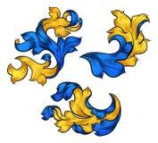 Floral Filigree Pattern Scroll Design Set vector illustration
