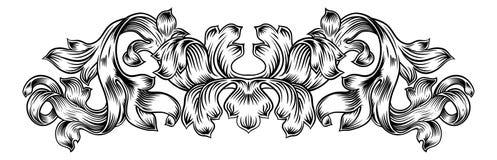 Filigree Vintage Pattern Scroll Leaf Laurel Motif. A floral filigree pattern scroll laurel leaf baroque vintage style design motif royalty free illustration