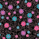 Floral Filigree Pattern. Seamless pattern of colorful stylized flowers and filigree on a black background Royalty Free Stock Photos