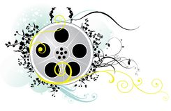 Floral film reel. Illustration of decorative floral movie or film reel isolated on white background royalty free illustration