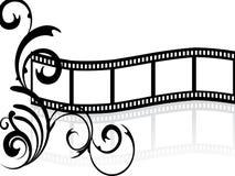 Floral film stripe. Illustration of a floral elements on a blank film stripe Stock Image