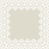 Floral Fine Frame. Classic frame with arabesques and orient elements. Abstract fine beige and white ornament Stock Photos