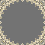 Floral Fine Frame. Classic frame with arabesques and orient elements. Abstract fine ornament with place for text. Gray and golden pattern Stock Image