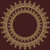 Floral  Fine Frame. Classic  frame with arabesques and orient elements. Abstract fine round golden ornament Royalty Free Stock Photography