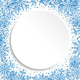 Floral Fine Frame. Classic frame with blue arabesques and snowflakes. Fine greeting card Stock Photos