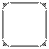 Floral Fine Frame. Classic square frame with arabesques and orient elements. Abstract fine ornament with place for text. Black and white colors Royalty Free Stock Image