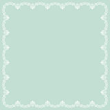 Floral Fine Frame. Classic square frame with arabesques and orient elements. Abstract fine ornament with place for text. Light blue and white pattern Stock Photo