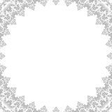 Floral Fine Frame. Classic square frame with arabesques and orient elements. Abstract fine ornament with place for text. Light silver pattern Stock Photo