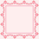 Floral Fine Frame. Classic square frame with arabesques and orient elements. Abstract fine ornament with place for text. Pink pattern Royalty Free Stock Photo