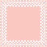 Floral Fine Frame. Classic square frame with arabesques and orient elements. Abstract fine ornament with place for text. Pink and white pattern Stock Photography