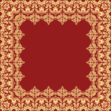 Floral Fine Frame. Classic square frame with arabesques and orient elements. Abstract fine red and golden ornament with place for text Royalty Free Stock Image