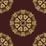 Floral Fine Seamless Pattern. Floral brown and golden ornament. Seamless abstract pattern with fine pattern Stock Image