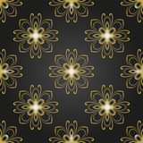 Floral Fine Seamless  Pattern. Floral  ornament. Seamless abstract classic fine black and golden pattern Stock Image