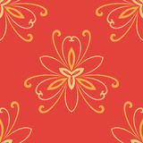 Floral Fine Seamless Pattern. Floral ornament. Seamless abstract classic pattern with flowers. Red and golden pattern Stock Image
