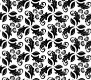 Floral Fine Seamless Vector Pattern. Floral vector ornament. Seamless abstract background with fine black and white pattern Stock Images