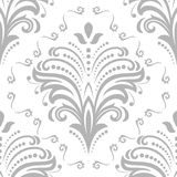 Floral Fine Seamless Vector Pattern. Floral vector ornament. Seamless abstract silver background with fine pattern Royalty Free Stock Photo