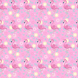 Floral flamingos stock illustration