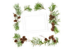 Floral Flat lay background Mock up tablet pc Christmas decoratio Royalty Free Stock Photography