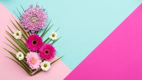 Floral flat lay Happy Mother`s Day, Women`s Day, Valentine`s Day or Birthday background. stock photos