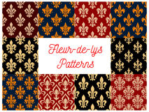 Floral fleur-de-lis vector seamless patterns set Royalty Free Stock Photography