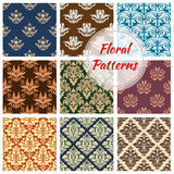 Floral and flourish vector seamless patterns set. Flowery ornate patterns set. Seamless floral ornaments and baroque flower ornate tiles. Embellishment motif and Stock Photography