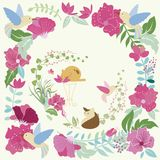 Floral flower and cat. Floral flower, birds and cat background Stock Photos
