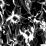 Floral flower narcissus and iris seamless hand drawn pattern. Bl Stock Image