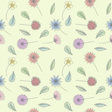 Floral flower pastel pattern line draw art vector design Royalty Free Stock Image