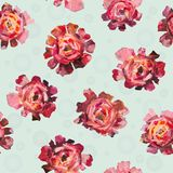 Floral flower pattern of abstract roses, peonies flowers with balls on white background. Seamless pattern for fabric and wallpaper, for design, decoration Stock Images
