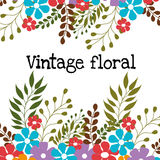 Floral and flowers decorative design. Floral and flowers vintage decorative design, vector illustration Stock Photo