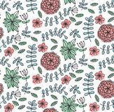 Floral flowers leafs doodle seamless vector pattern. Floral flowers leafs cute elegant nature doodle seamless vector pattern stock illustration